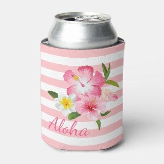 Porta-lata Aloha flores e listras tropicais do rosa