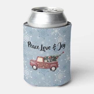 Porta-lata Amor & alegria da paz com Feliz Natal vermelho do