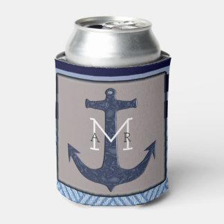 Porta-lata Âncora do barco e listras, design náutico