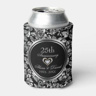 Porta-lata Aniversário de casamento da prata preta e metálica