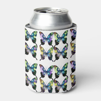 Porta-lata Aqua, rosa, e amarelo - borboletas elegantes