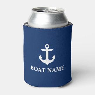 Porta-lata Azuis marinhos náuticos da âncora do nome do barco