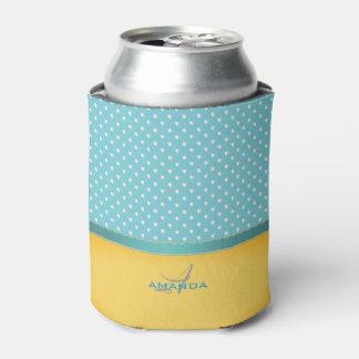 Porta-lata Azul de oceano, praia ensolarada, monograma de