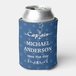 Porta-lata Azul do capitão Náutico Âncora Costume Nome | do