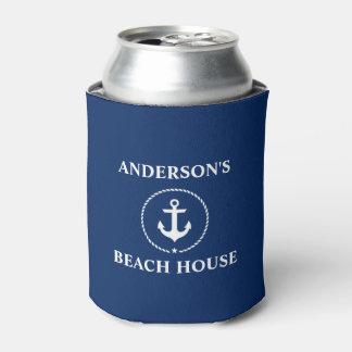 Porta-lata Azul náutico da âncora do nome de família da casa