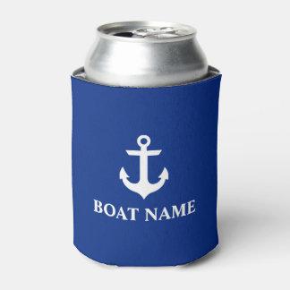 Porta-lata Azul náutico da âncora do nome do barco