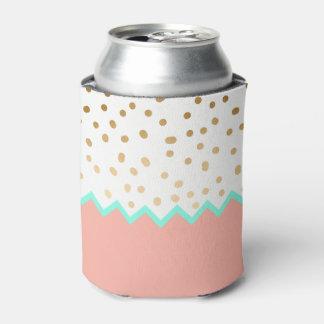 Porta-lata bolinhas bonitos hortelã e rosa do ouro do falso