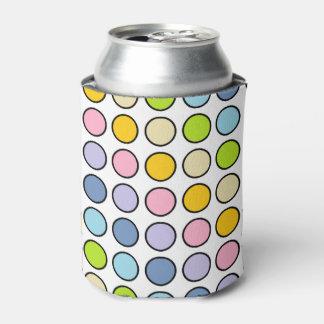 Porta-lata Bolinhas Pastel esboçadas preto do arco-íris