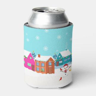 Porta-lata Boneco de neve da paisagem do lado do país do