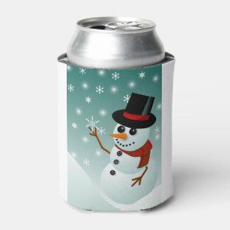 Porta-lata Boneco de neve, neve e flocos de neve do Natal