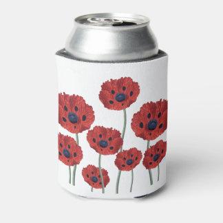 Porta-lata Branco vermelho da papoila