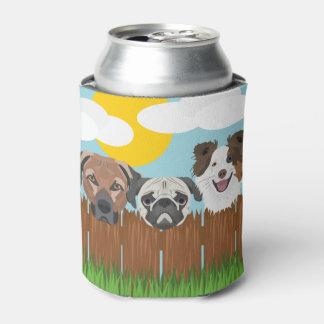 Porta-lata Cães afortunados da ilustração em uma cerca de