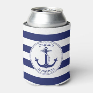 Porta-lata Capitão náutico Personalized dos azuis marinhos da