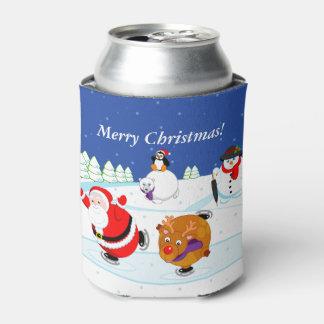 Porta-lata Cena da neve do patinagem no gelo de Papai Noel e