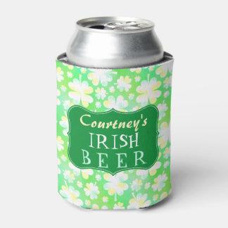 Porta-lata Cerveja irlandesa verde da aguarela de Patricks da