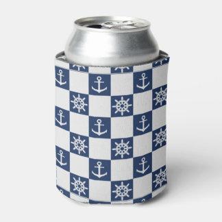 Porta-lata Checkered branco azul náutico