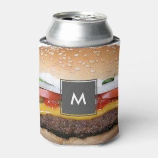 Porta-lata cheeseburger delicioso com fotografia das