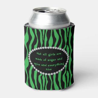 Porta-lata Cómico - zebra verde, diamantes não todas as