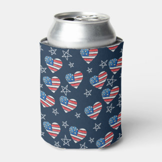 Porta-lata Coração da bandeira americana