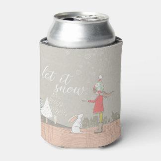Porta-lata Deixais lhe para nevar menina e coelho