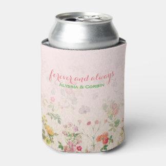 Porta-lata Festa de solteira cor-de-rosa floral do casamento