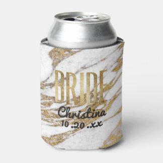 Porta-lata Festa de solteira de mármore branca da noiva do