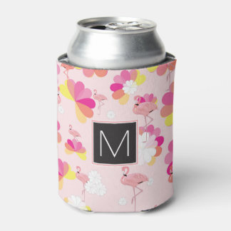 Porta-lata Flamingos cor-de-rosa tropicais do monograma |