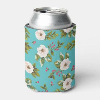 Porta-lata Flores brancas que pintam no fundo de turquesa