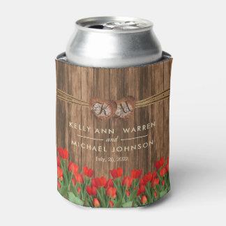 Porta-lata Flores vermelhas bonitas da tulipa na madeira