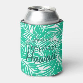 Porta-lata Folhas de palmeira verdes tropicais