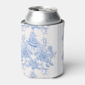 Porta-lata Francês, chique, vintage, azul pálido, branco,