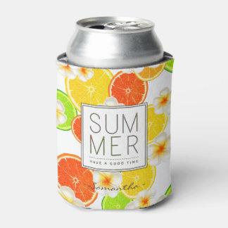Porta-lata Frutas frescas do verão e flores exóticas do