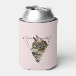 Porta-lata Gato de gato malhado com quadro do brilho da prata