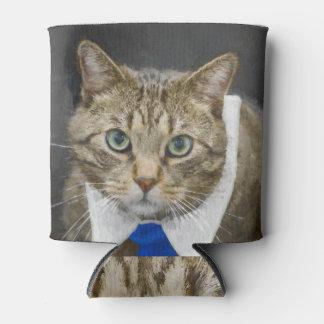 Porta-lata Gato de gato malhado marrom verde-eyed bonito que