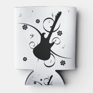 Porta-lata Guitarra elétrica preta com teste padrão floral