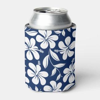 Porta-lata Hibiscus azul & branco