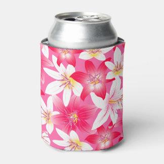 Porta-lata Hibiscus branco e cor-de-rosa floral