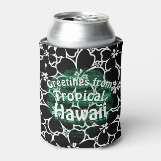 Porta-lata Hibiscus preto e branco tropical