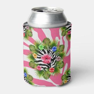 Porta-lata Hibiscus tropical e listras cor-de-rosa exóticas