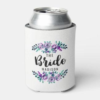 Porta-lata Hortelã & noiva floral roxa do casamento da