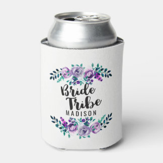 Porta-lata Hortelã & tribo floral roxo da noiva do casamento