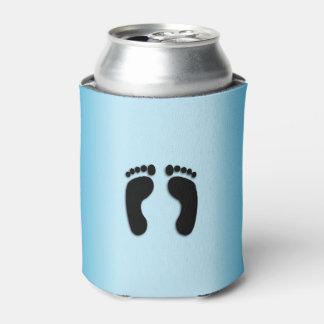 Porta-lata Impressões azuis do pé