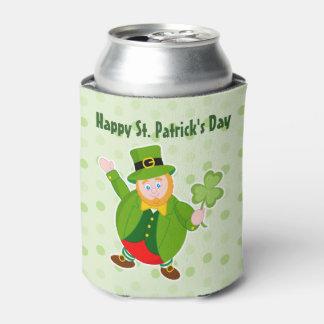 Porta-lata Leprechaun do dia de um St Patrick que guardara um