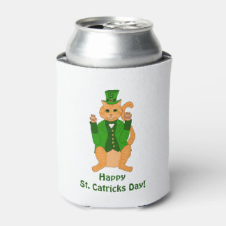 Porta-lata Leprechaun do gato do dia do St. Catrick engraçado