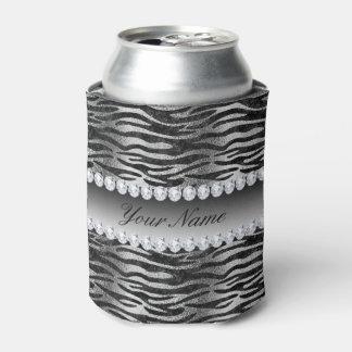 Porta-lata Listras pretas da zebra da folha do falso na prata