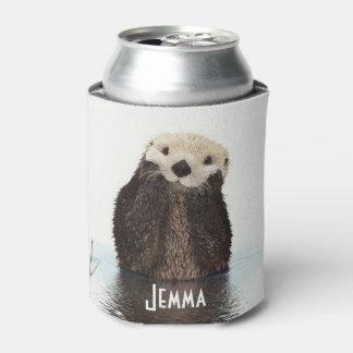 Porta-lata Lontra peludo bonito na água
