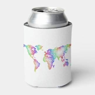 Porta-lata Mapa do mundo do arco-íris