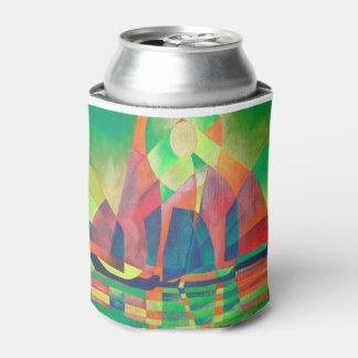 Porta-lata Mar do verde com sucatas do abstrato do Cubist