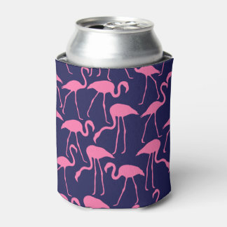 Porta-lata Marinho e teste padrão cor-de-rosa do flamingo