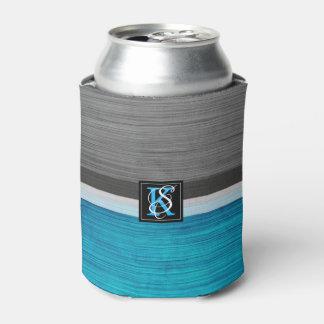 Porta-lata Monograma azul e cinzento do tom dois simples das